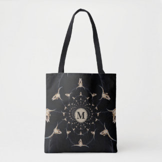Kaleidoscope sepia rustic buffalo skull with horns tote bag