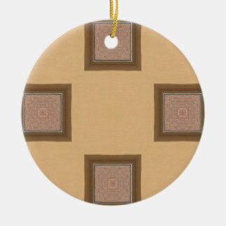 Kaleidoscope Square Modern Pattern Brown and Beige Ceramic Ornament