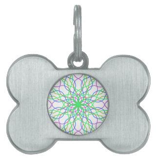 Kaleidoscope Star, White Green Blue Purple Art Pet ID Tag