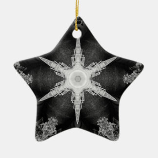 Kaleidoscope Train and Trees, Black and White Ceramic Ornament