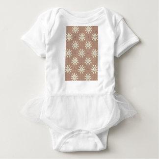 Kaleidoscope White Flowers on Beige Pattern Baby Bodysuit