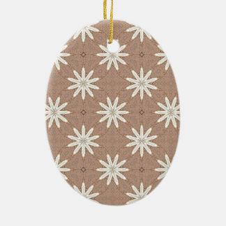Kaleidoscope White Flowers on Beige Pattern Ceramic Ornament