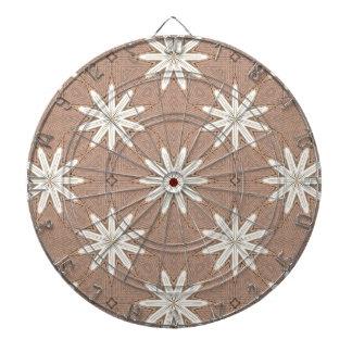 Kaleidoscope White Flowers on Beige Pattern Dartboard
