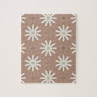 Kaleidoscope White Flowers on Beige Pattern Jigsaw Puzzle