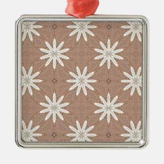 Kaleidoscope White Flowers on Beige Pattern Metal Ornament