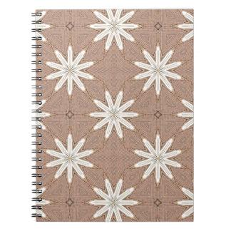 Kaleidoscope White Flowers on Beige Pattern Notebook