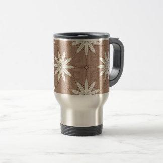 Kaleidoscope White Flowers on Beige Pattern Travel Mug