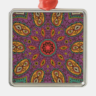 Kaleidoscope Yoga Pattern Silver-Colored Square Ornament
