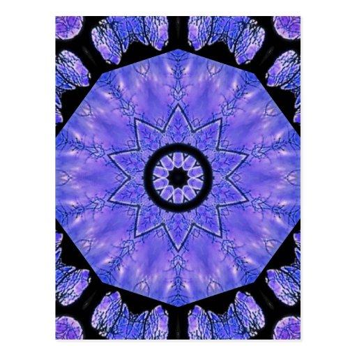 Kaleidoscopic blue tree haze postcard
