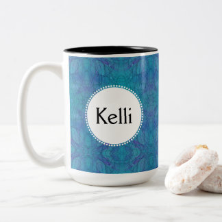 Kaleidoscopic Blues Abstract Art with Your Name Two-Tone Coffee Mug