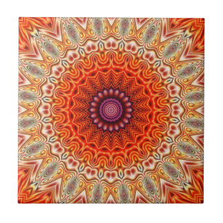 Kaleidoscopic Flower Orange And White Design Tiles