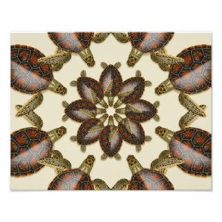 "Kaleidoscopic Green Turtle  14"" x 11"" Print"