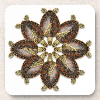 Kaleidoscopic Green Turtle Coasters