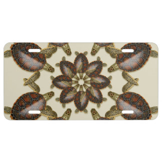 Kaleidoscopic Green Turtles License Tag License Plate