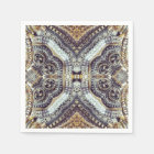 Kaleidoscopic grey Gold Medallion steampunk gears Napkin