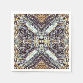 Kaleidoscopic grey Gold Medallion steampunk gears Paper Napkin