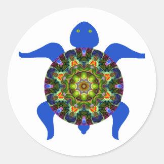 Kaleidoscopic Mandala Turtle Design.8 Classic Round Sticker