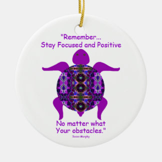 Kaleidoscopic Mandala Turtle Ornament.6 Ceramic Ornament