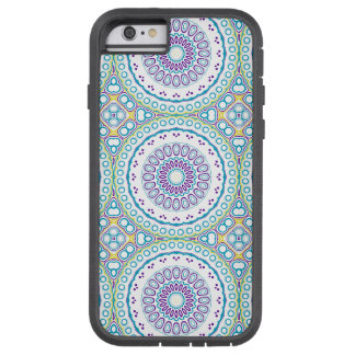 Kaleidoscopic Medallion in Purple & Blue on White Tough Xtreme iPhone 6 Case
