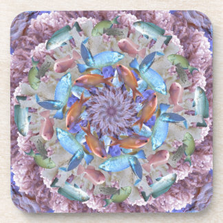 Kaleidoscopic Seascape in Bright Pastels Coaster