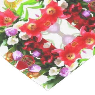 Kaleidoscopic Tulip Flowers Floral Pattern Short Table Runner
