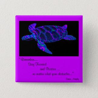 Kaleidoscopic Turtle Design Button.1 2 Inch Square Button