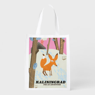 "Kaliningrad ""for an adventure"" travel poster reusable grocery bag"