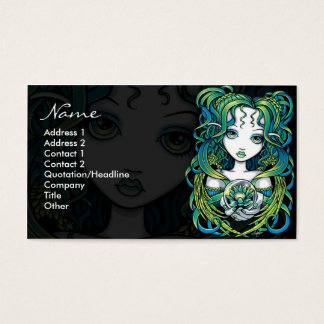 """Kallan"" Green Lotus Water Angel Business Cards"