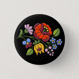 Kalocsa Embroidery - Hungarian Folk Art black bg. 1 Inch Round Button