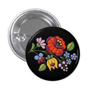 Kalocsa Embroidery - Hungarian Folk Art black bg. 1 Inch Round Button