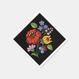 Kalocsa Embroidery - Hungarian Folk Art motif Disposable Napkins