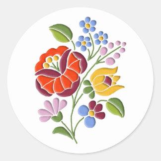 Kalocsa Embroidery - Hungarian Folk Art Classic Round Sticker