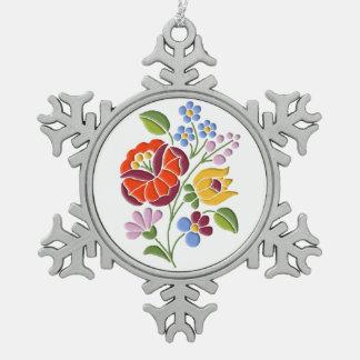 Kalocsai Embroidery - Hungarian Folk Art Pewter Snowflake Ornament