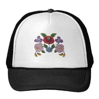 Kalocsai floral pattern mesh hats
