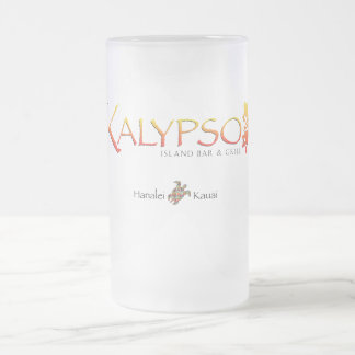 Kalypso Colourful Logo With Rainbow Sea Turtle Frosted Glass Beer Mug