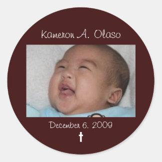 Kam2, Kameron A. Olaso, December 6, 2009, t Classic Round Sticker