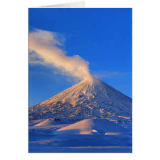 Kamchatka active Klyuchevskoy Volcano at sunrise Card