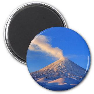 Kamchatka active Klyuchevskoy Volcano at sunrise Magnet