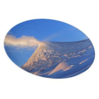 Kamchatka active Klyuchevskoy Volcano at sunrise Plate