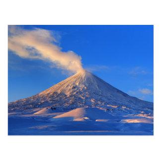 Kamchatka active Klyuchevskoy Volcano at sunrise Postcard