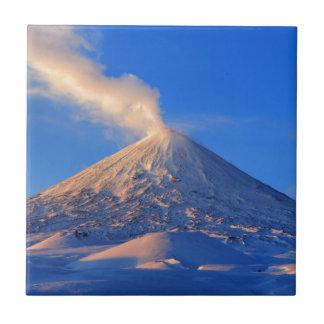 Kamchatka active Klyuchevskoy Volcano at sunrise Tile