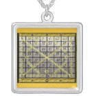 kamea mercury square silver plated necklace