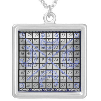 kamea moon square silver plated necklace