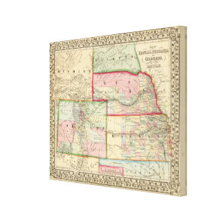 Kan, Neb, Colo Map by Mitchell Gallery Wrap Canvas