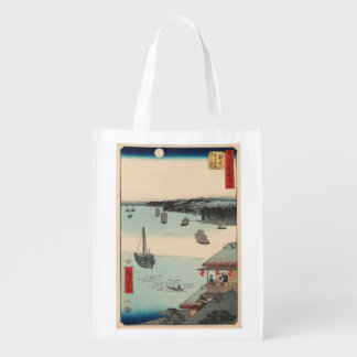 Kanagawa, Japan: Vintage Woodblock Print Reusable Grocery Bag