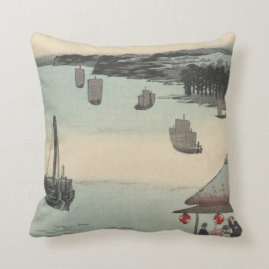 Kanagawa, Japan: Vintage Woodblock Print Throw Pillow