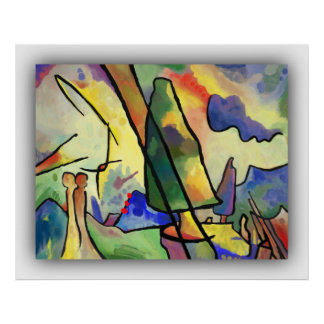 Kandinsky inspired abstract art painting on poster
