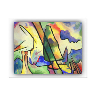 Kandinsky inspired abstract landscape and a couple canvas print