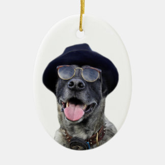 kangal dog with hat and eyeglasses ceramic oval ornament