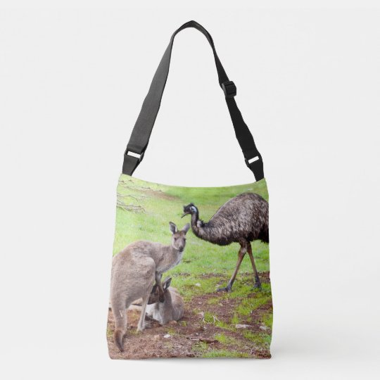 Kangaroo And Emu, Full Print Unisex Cross Body Bag
